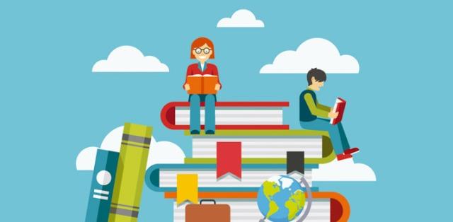 Imagem de leitores sentados em livros e nuvens
